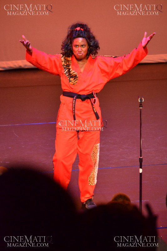 "Dorcas Evelene Davis performing a monologue from Classic Film, ""The Last Dragon"" as Sho-nuff"