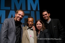 Jason and Shirley Opening Night at MoMA in NYC, Director Stephen Winter, Actors - Jack Waters (Jason Holiday) & Sarah Schulman (Shirley Clarke), moderator,Rajendra Roy, The Celeste Bartos Chief Curator of Film at MoMa|Photo credit: (c) 2015 CINEMATIQ Magazine/Angel Brown